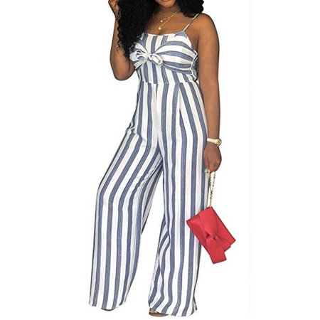 Women's Sexy Spaghetti Straps Striped Bowknot Cut Out Back Casual Jumpsuit Romper Wide Leg Long Pants