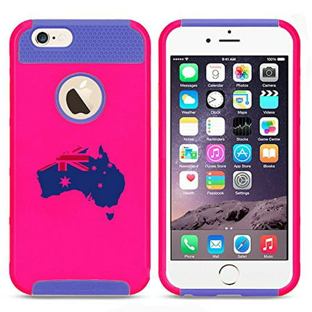 Apple iPhone SE Shockproof Impact Hard Soft Case Cover Australia Australian Flag (Hot Pink-Blue),MIP