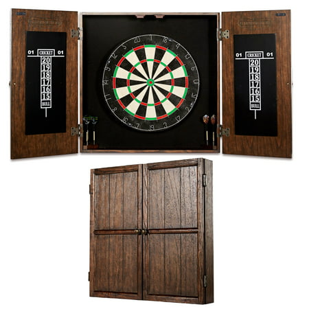 Barrington Webster Bristle Dartboard and Solid Wood Cabinet Set, Includes 6 steel tip darts with America and British flag style flights, Brown/Black (American Style Dartboard)