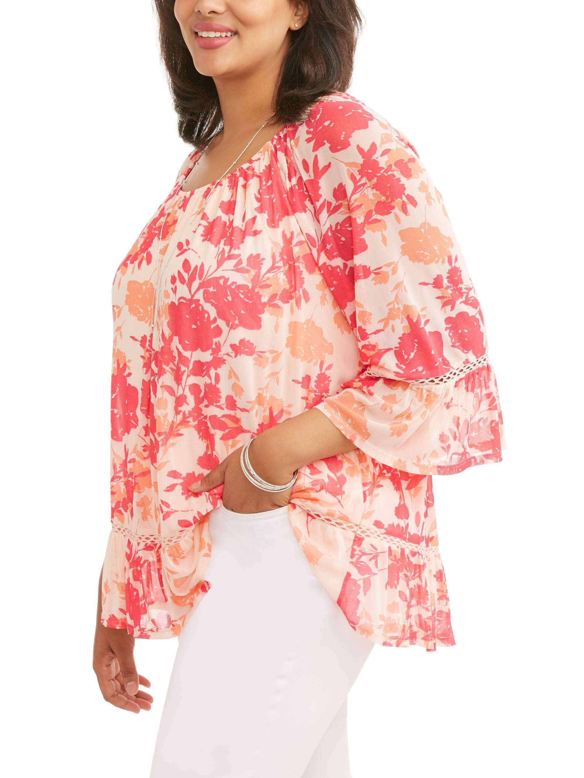 Women's Coral Ruffle Hem Blouse