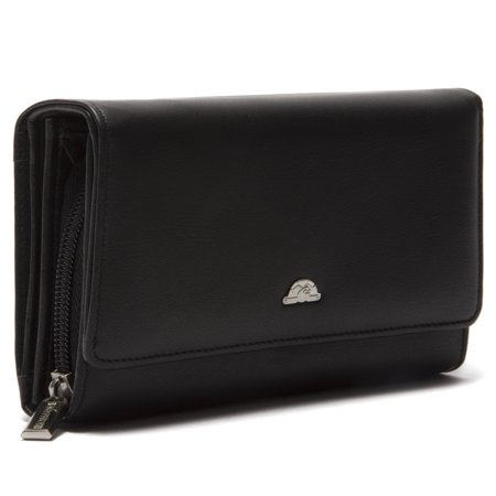 Tony Perotti Italian Leather Zip Around Clutch Wallet with Coin Pocket, Black