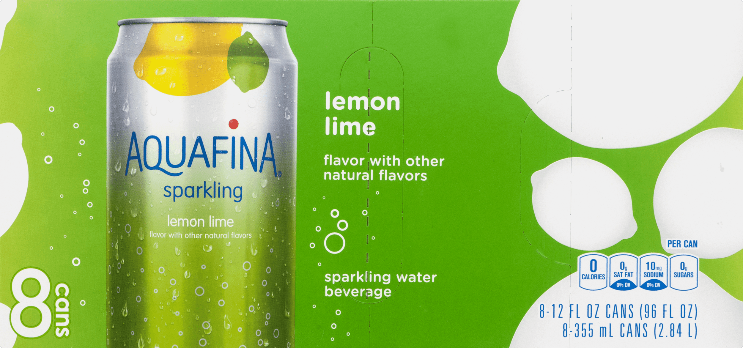 Aquafina Sparkling Water, Lemon Lime, 8 Count, 12 fl oz Cans by Pepsico