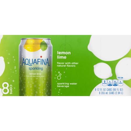 Aquafina Sparkling Water  Lemon Lime  12 Fl Oz   8 Ct