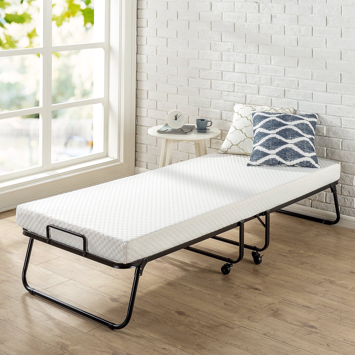 Zinus Roll Away Folding Guest Bed with Mattress, Narrow Twin