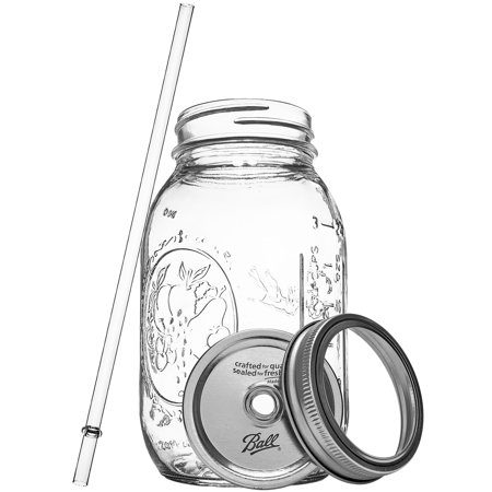 Redneck Guzzler Drinking Sipping Jar 32oz Ball Mason Jar w/ Acrylic Straw 2 Pack](Mason Jar With Straw)