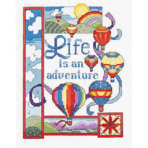 "Life Is An Adventure Counted Cross Stitch Kit, 7"" x 9"", 14-Count"