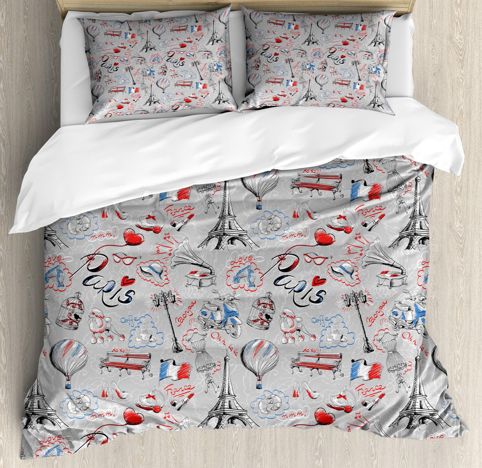 Paris Themed Bedding Walmart: Paris Queen Size Duvet Cover Set, France Themed Image With