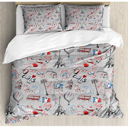 Paris King Size Duvet Cover Set, France Themed Image with French Flag Dogs Eiffel Tower Croissant Vintage City of Love, Decorative 3 Piece Bedding Set with 2 Pillow Shams, Multicolor, - Paris City Size