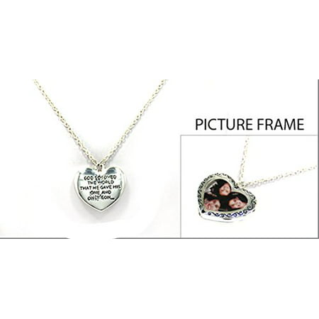 The Quiet Witness - Picture Frame Locket Necklace John 3:16 ...