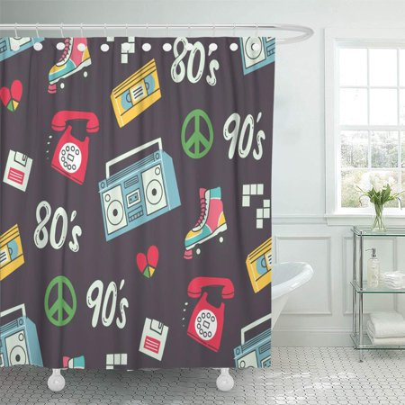 KSADK Colorful 80s Vintage with Television Telephone and 90s Abstract Boom Box Boombox Shower Curtain Bath Curtain 66x72 inch](90's Boom Box)