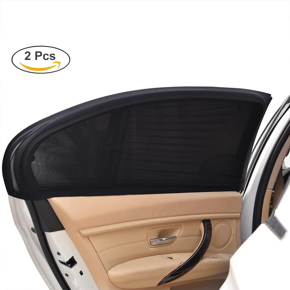 Uarter Universal Fit Car Side Window Sun Shade Mesh Cover for Blocking Harmful UV Rays 2Pcs Black