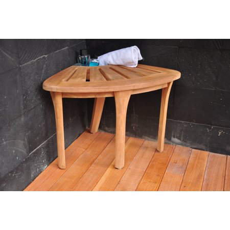WholesaleTeak Outdoor Patio Grade-A Teak Wood Corner Seat Shower Bench / Stool with Basket #WMAXCS