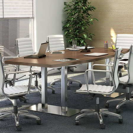 Image of 8ft - 24ft Modern Conference Boat-Shaped Table with Metal Bases, Boardroom Meeting Room Office, Wood & Brushed Aluminum Metal (20ft w/ 4 Power Modules, Modern Walnut)