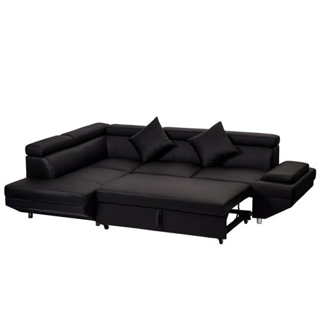 Contemporary Sectional Modern Sofa Bed - Black With Functional Armrest / Back (Contemporary Leather Sleeper Sofas)