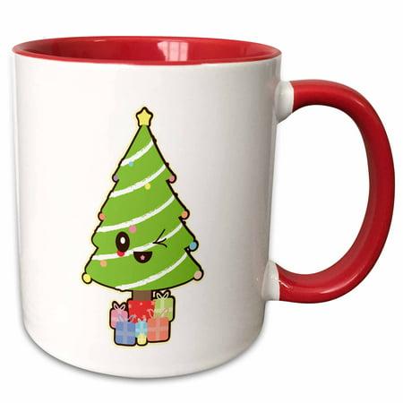 3dRose Cute Kawaii Christmas Tree With Presents Cartoon Character - Two Tone Red Mug, 11-ounce - Cute Christmas Mugs