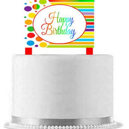 Birthday Decoration Items (CakeSupplyShop Item#AE-102 Happy Birthday Rainbow Elegant Cake Decoration)