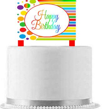 CakeSupplyShop Item#AE-102 Happy Birthday Rainbow Elegant Cake Decoration Topper