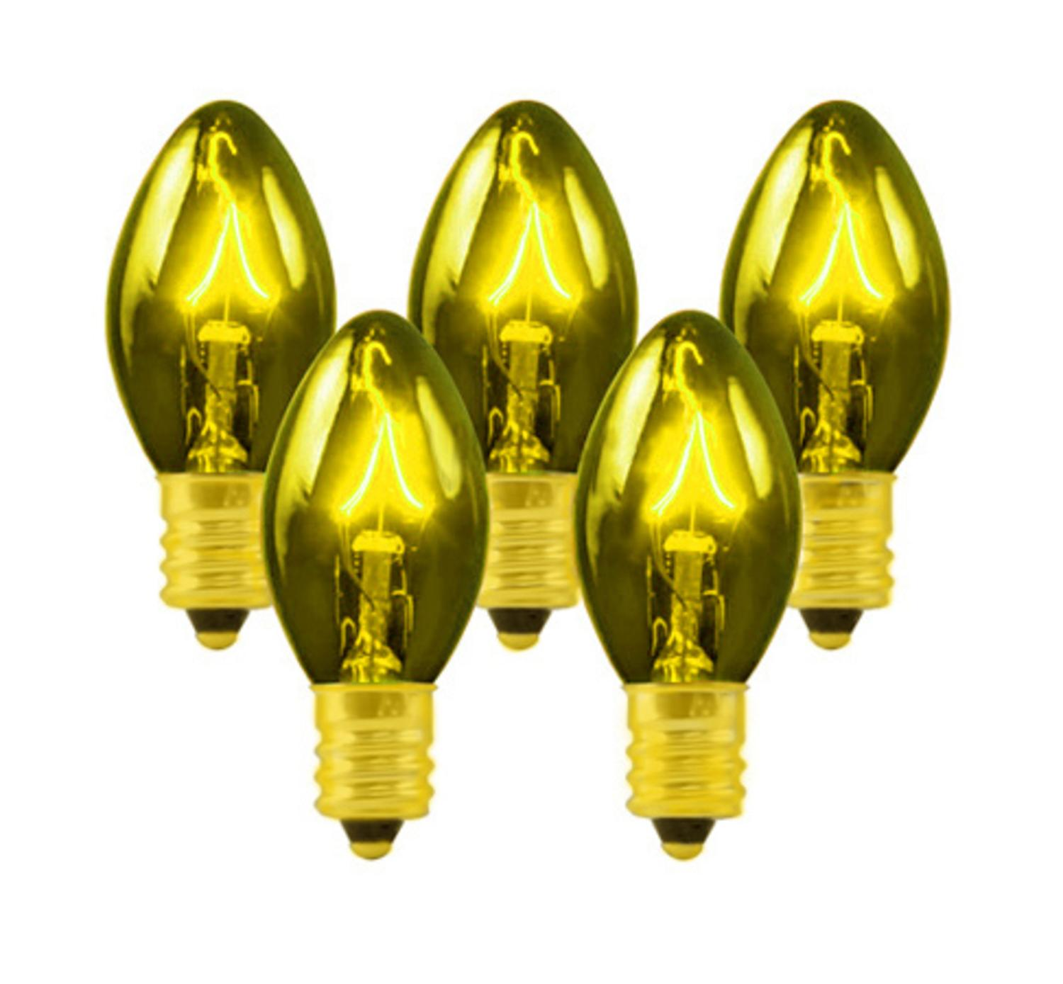 Club Pack of 100 C7 Transparent Gold Replacement Christmas Light Bulbs