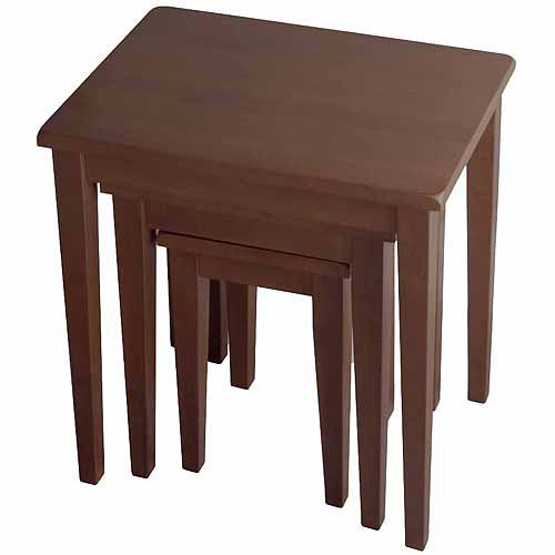 Winsome Trading Inc 94320 3-Piece Antique Walnut Wood Nesting Table Collection