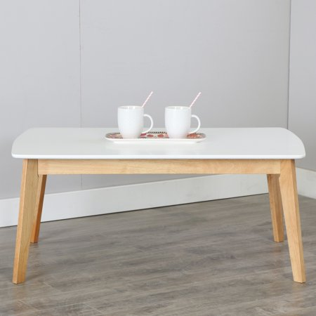Retro Modern Two Tone Coffee Table White Natural