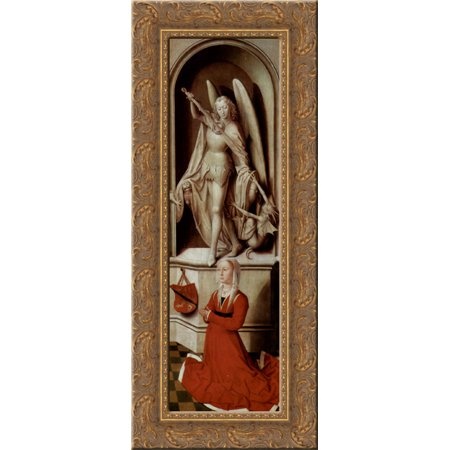 The Last Judgment, triptych, right wing Praying donor Catherine Tanagli with archangel Michael 13x24 Gold Ornate Wood Framed Canvas Art by Memling, Hans