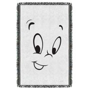 Casper The Friendly Ghost Face Woven Throw Tapestry 36X60 White One Size