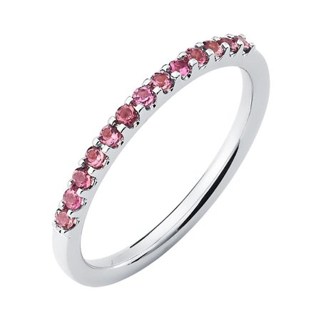 14k White Gold 1.04 Tgw. Pink Tourmaline October Birthstone Stackable Band Ring
