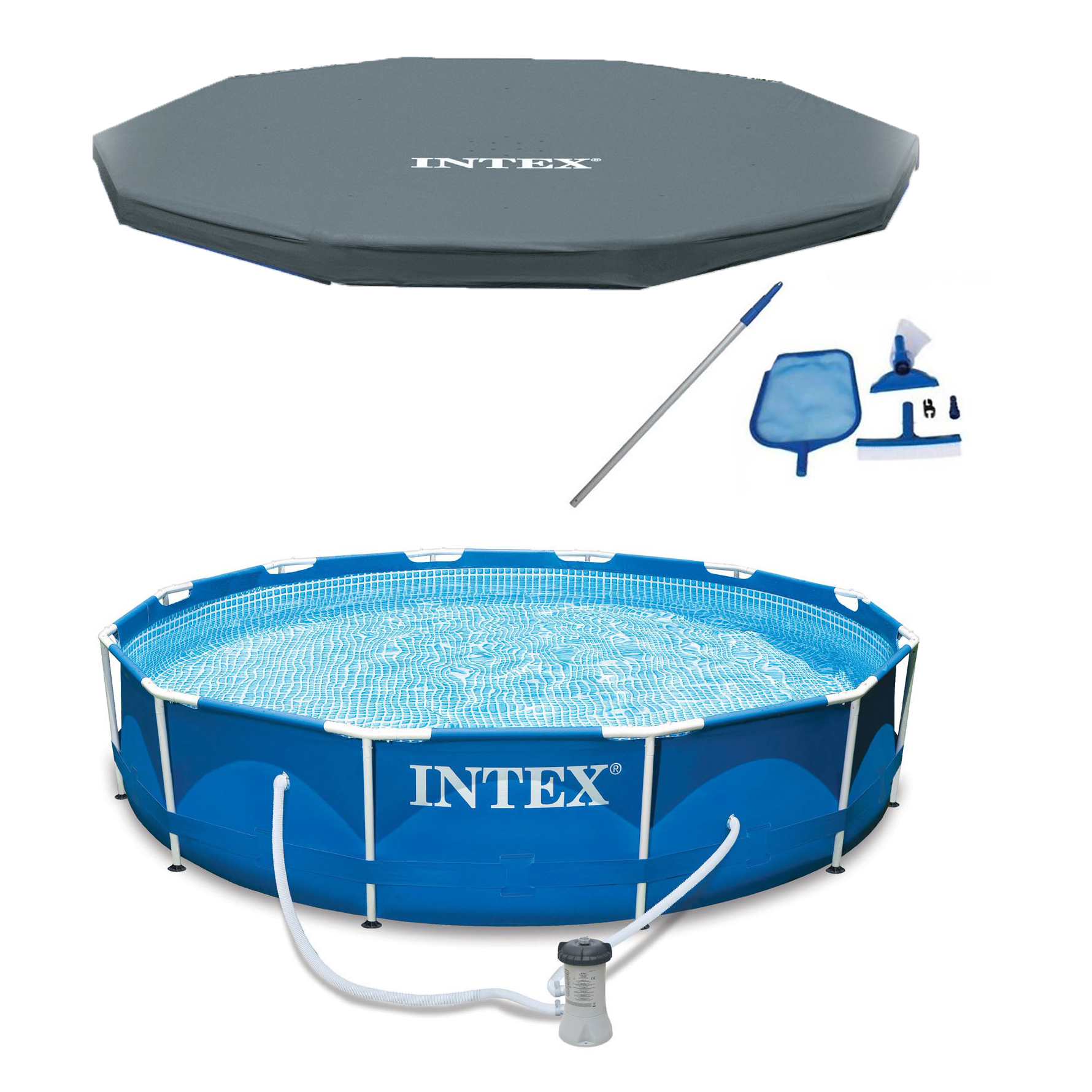 "Intex 12' x 30"" Metal Frame Above Ground Pool, Filter, Cover, & Maintenance Kit"