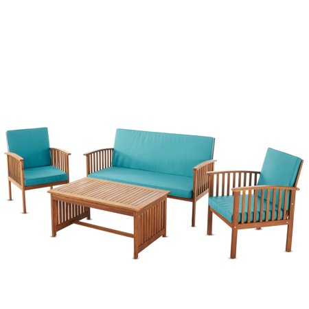 Cape Town Outdoor 4 Piece Acacia Wood Sofa Set With Water