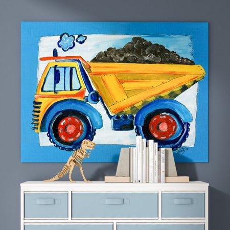 Zoomie Kids Heitz 'Dump Truck' Graphic Art Print on Wrapped Canvas (Dump Truck Canvas)