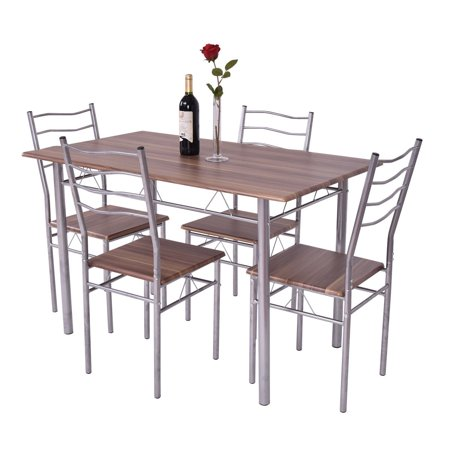 GHP MDF Seat & Desktop Metal Frame Dining Table with 4-Pcs Dining Chairs Furniture