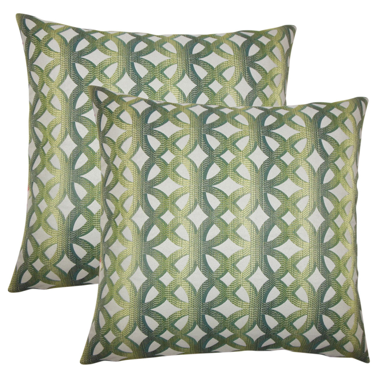 Set of 2 Heulwen Geometric Throw Pillows in Jade