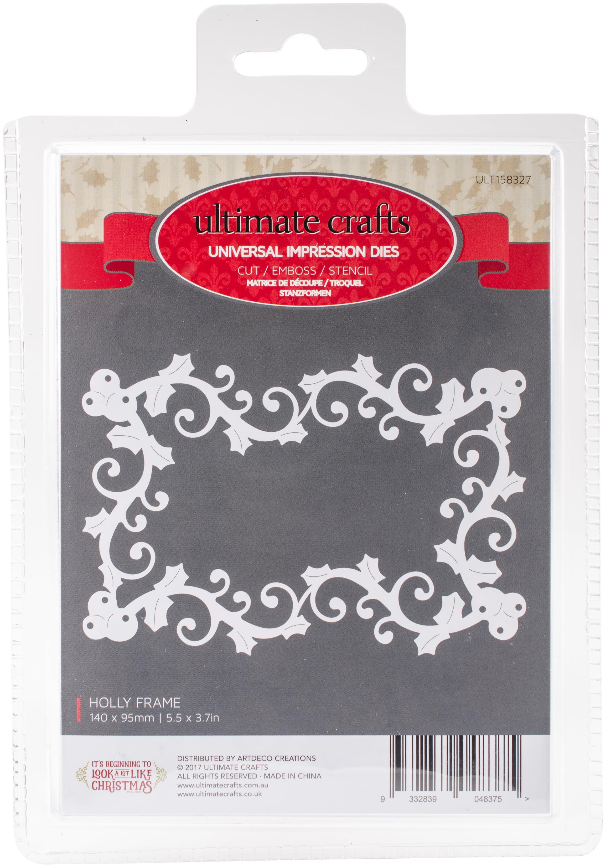 Ultimate Crafts Look Like Christmas Framed Die 1/Pkg-Holly Frame 5.5 ...