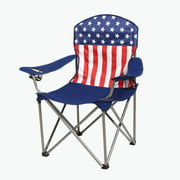 Kamp-Rite Outdoor Camping Beach Patio Sports Folding Quad Lawn Chair, USA Flag