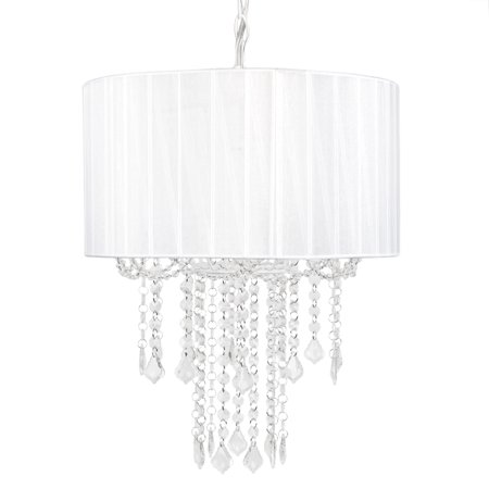 Tadpoles One Bulb Shaded Chandelier, White
