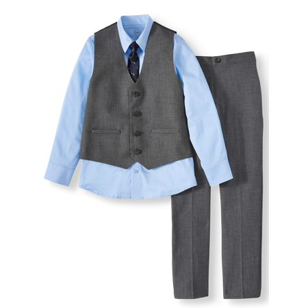 Wonder Nation Boys 4-14 & Husky Dressy Vest Set with Long Sleeve Shirt, Vest, Skinny Tie, & Twill Dress Pants, 4-Piece Outfit Set Blue Cream Clothing