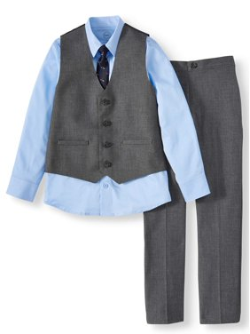 Wonder Nation Dressy Vest Set with Long Sleeve Blue Shirt, Skinny Tie and Twill Pant, 3-Piece Outfit Set (Little Boys & Big Boys)