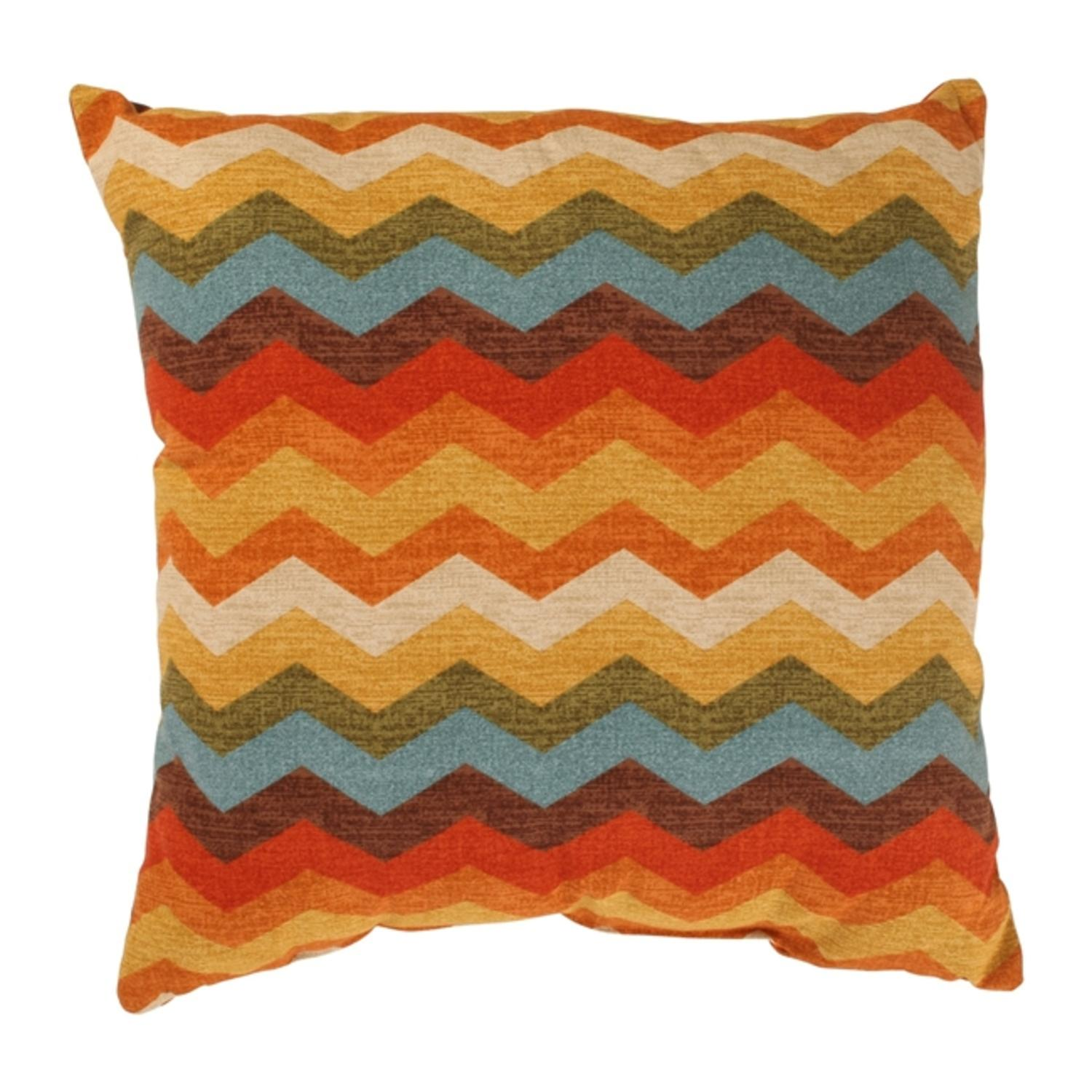 "Panama Wave Rainbow Chevron Zig Zag Striped Cotton Throw Pillow 18"" x 18"""