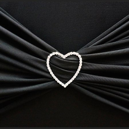 BalsaCircle Silver Heart Rhinestones Chair Sash Buckle Pin - Wedding Party Reception Linens Dinner Event Decorations
