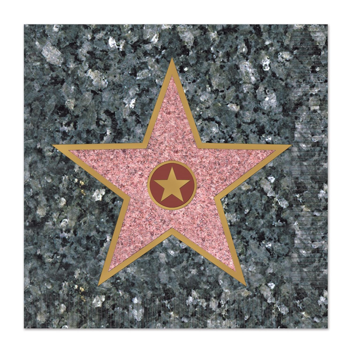 Club Pack of 192 Gray and Pink Hollywood Star Disposable 2-Ply Beverage Napkins