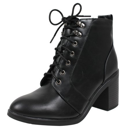 City Classified Womens Almond Toe Lace Up Combat Chunky Heel Military Ankle Boot
