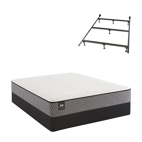 Bernstein Full Size Plush Tight Top Mattress and Standard Box Spring Set with Frame Sealy Response Essentials Mattress by Sealy