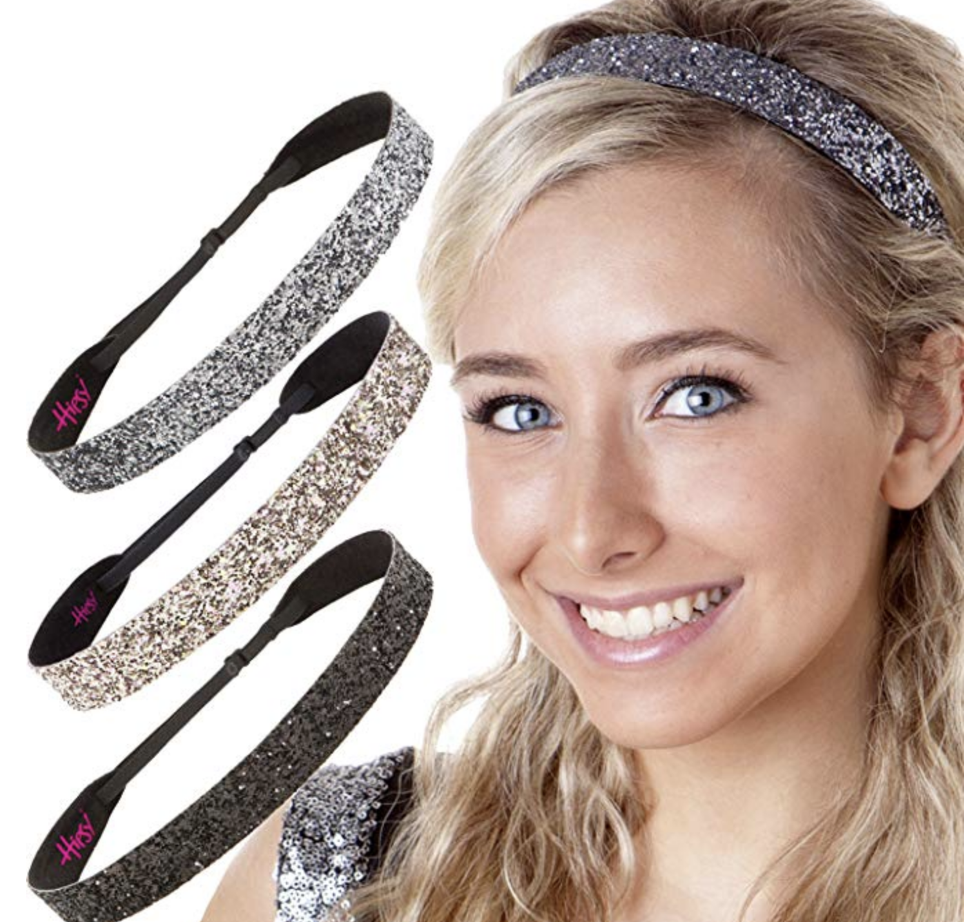 11aa885258ce Hipsy Adjustable NO SLIP Sparkly Fashion Bling Glitter Headbands for Women  Gift Pack (Wide Black Rose Gold Gunmetal 3pk) - Walmart.com