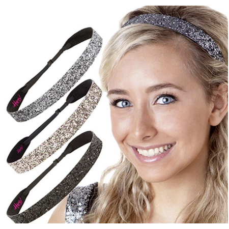 Glitter Headbands (Hipsy Adjustable NO SLIP Sparkly Fashion Bling Glitter Headbands for Women Gift Pack (Wide Black/Rose Gold/Gunmetal)