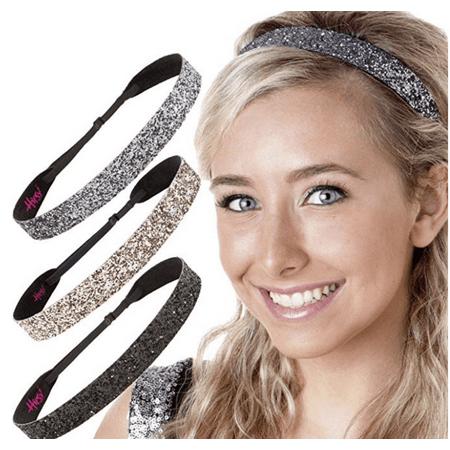 Hipsy Adjustable NO SLIP Sparkly Fashion Bling Glitter Headbands for Women Gift Pack (Wide Black/Rose Gold/Gunmetal