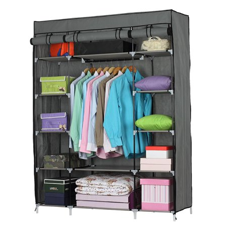 Ktaxon Portable Closet Wardrobe Clothes Rack Storage Organizer With Shelf Gray -
