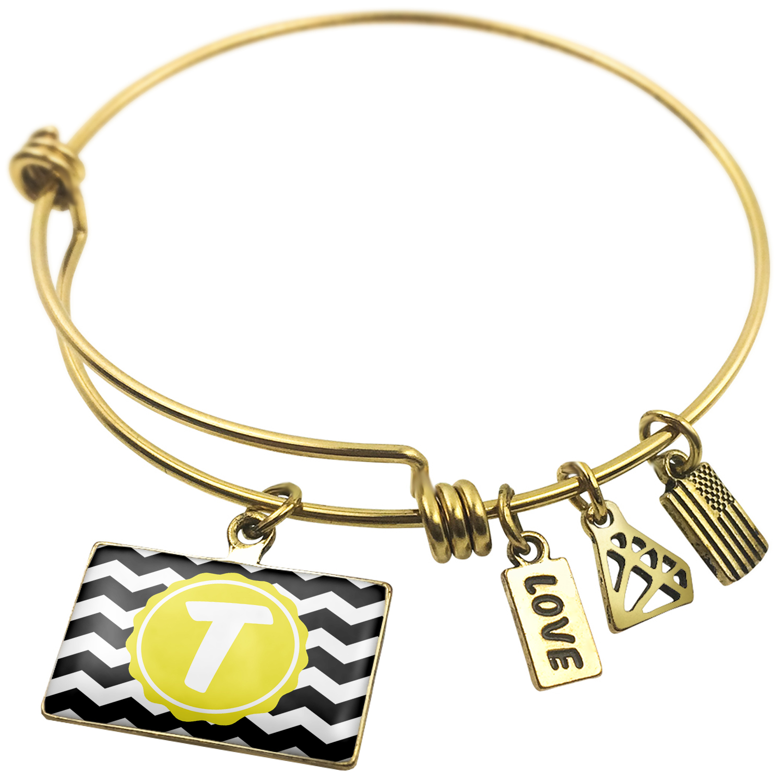 Expandable Wire Bangle Bracelet Monogram T Black Yellow Chevron - NEONBLOND