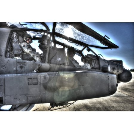 High Dynamic Range Image Of Pilots Equipped With A Monocle While Sitting In The Cockpit Of An Ah 64D Apache Longbow Attack Helicopter Poster Print