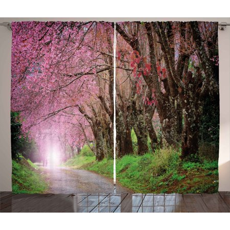 Japanese Garden Curtains 2 Panels Set, National Park in Chiang Mai Cherry Blossoms Spring Picture, Window Drapes for Living Room Bedroom, 108W X 108L Inches, Fuchsia Brown Fern Green, by