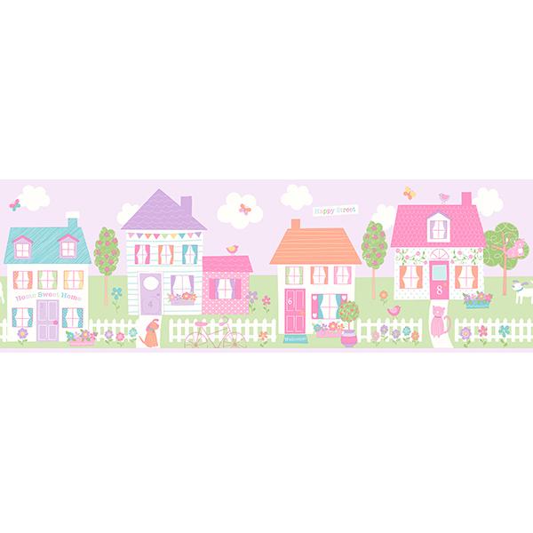 Brewster Happy Street Village Purple Border